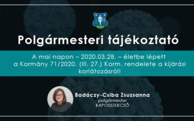 Polgármesteri tájékoztató 2020.03.28.